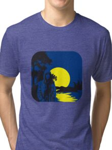 full moon melancholy nature Tri-blend T-Shirt