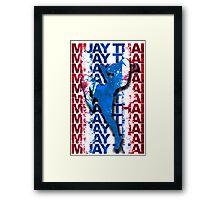 Muay Thai Boxing Flag Fighter Thailand Martial Art Framed Print