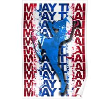 Muay Thai Boxing Flag Fighter Thailand Martial Art Poster