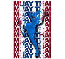 Muay Thai Boxing Flag Fighter Thailand Martial Art Photographic Print