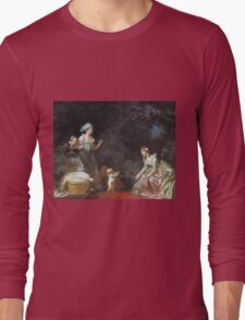Jean-Honore Fragonard - The First Steps. Mother with kid portrait: cute girl, mother and daughter, female, pretty angel, child, beautiful dress, lovely family, mothers day, memory, mom mum mam, baby Long Sleeve T-Shirt