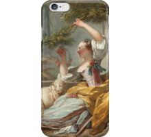 Jean-Honore Fragonard - The Shepherdess 1750. Girl portrait: cute girl, girly, female, pretty angel, child, beautiful dress, face with hairs, smile, little, kids, baby iPhone Case/Skin