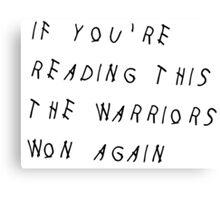 Warriors NBA Finals Champions 2016 Canvas Print
