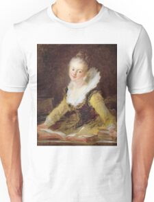 Jean-Honore Fragonard - The Study, Or The Song. Woman portrait: sensual woman, girly art, female style, pretty women, femine, beautiful dress, cute, creativity, love, sexy lady, erotic pose Unisex T-Shirt