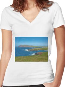 Ring of Kerry landscape Ireland Women's Fitted V-Neck T-Shirt