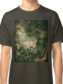 Jean-Honore Fragonard - The Swing. Lovers portrait: sensual woman, woman and man, kiss, kissing lovers, love relations, lovely couple, family, valentine's day, sexy, romance, female and male Classic T-Shirt