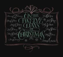 Chalkboard Lettering '12 Days of Christmas' Modern Chalk Calligraphy Carol Kids Tee