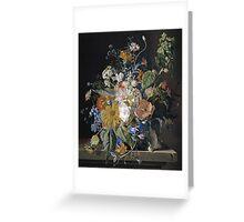 Jan Van Huysum - Poppies, Hollyhock, Morning Glory, Viola, Daisies. Still life with flowers: flowers, blossom, nature, botanical, floral flora, wonderful flower, plants, garden, vase Greeting Card