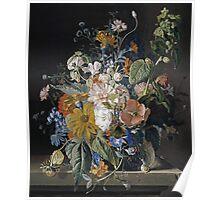 Jan Van Huysum - Poppies, Hollyhock, Morning Glory, Viola, Daisies. Still life with flowers: flowers, blossom, nature, botanical, floral flora, wonderful flower, plants, garden, vase Poster