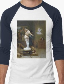Jean-Leon Gerome - Pygmalion And Galatea. Lovers portrait: sensual woman, woman and man, kiss, kissing lovers, love relations, lovely couple, family, valentine's day, sexy, romance, female and male Men's Baseball ¾ T-Shirt
