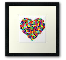 Colorful Tetris Heart Framed Print