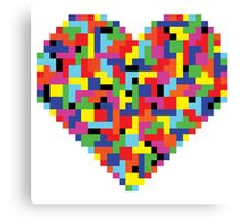 Colorful Tetris Heart Canvas Print