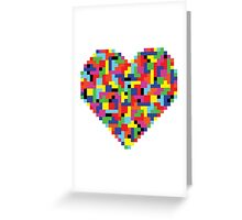 Colorful Tetris Heart Greeting Card