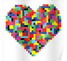 Colorful Tetris Heart Poster