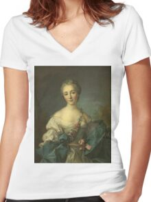 Jean-Marc Nattier - Portrait Of A Young Woman. Woman portrait: sensual woman, girly art, female style, pretty women, femine, beautiful dress, cute, creativity, love, sexy lady, erotic pose Women's Fitted V-Neck T-Shirt