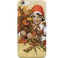 Jessie Willcox Smith - Girl With Fall Leaves. Child portrait: cute baby, kid, children, pretty angel, child, kids, lovely family, boys and girls, boy and girl, mom mum mammy mam, childhood iPhone Case/Skin