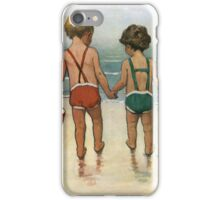 Jessie Willcox Smith - Hand In Hand On The Beach. Child portrait: cute baby, kid, children, pretty angel, child, kids, lovely family, boys and girls, boy and girl, mom mum mammy mam, childhood iPhone Case/Skin