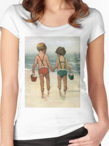 Jessie Willcox Smith - Hand In Hand On The Beach. Child portrait: cute baby, kid, children, pretty angel, child, kids, lovely family, boys and girls, boy and girl, mom mum mammy mam, childhood Women's Fitted Scoop T-Shirt