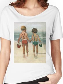 Jessie Willcox Smith - Hand In Hand On The Beach. Child portrait: cute baby, kid, children, pretty angel, child, kids, lovely family, boys and girls, boy and girl, mom mum mammy mam, childhood Women's Relaxed Fit T-Shirt