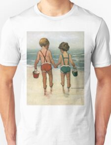Jessie Willcox Smith - Hand In Hand On The Beach. Child portrait: cute baby, kid, children, pretty angel, child, kids, lovely family, boys and girls, boy and girl, mom mum mammy mam, childhood Unisex T-Shirt