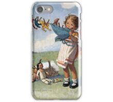 Jessie Willcox Smith - Hanging Doll Clothes On A Windy Day. Child portrait: cute baby, kid, children, pretty angel, child, kids, lovely family, boys and girls, boy and girl, mom mum mammy mam, iPhone Case/Skin