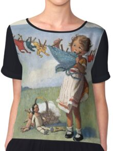 Jessie Willcox Smith - Hanging Doll Clothes On A Windy Day. Child portrait: cute baby, kid, children, pretty angel, child, kids, lovely family, boys and girls, boy and girl, mom mum mammy mam, Chiffon Top