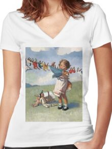 Jessie Willcox Smith - Hanging Doll Clothes On A Windy Day. Child portrait: cute baby, kid, children, pretty angel, child, kids, lovely family, boys and girls, boy and girl, mom mum mammy mam, Women's Fitted V-Neck T-Shirt