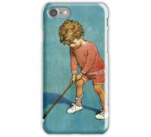 Jessie Willcox Smith - I Can Play Golf!. Child portrait: cute baby, kid, children, pretty angel, child, kids, lovely family, boys and girls, boy and girl, mom mum mammy mam, childhood iPhone Case/Skin