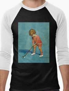 Jessie Willcox Smith - I Can Play Golf!. Child portrait: cute baby, kid, children, pretty angel, child, kids, lovely family, boys and girls, boy and girl, mom mum mammy mam, childhood Men's Baseball ¾ T-Shirt