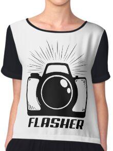 Camera Flasher Chiffon Top