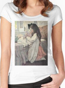 Jessie Willcox Smith - I Love My Doll. Child portrait: cute baby, kid, children, pretty angel, child, kids, lovely family, boys and girls, boy and girl, mom mum mammy mam, childhood Women's Fitted Scoop T-Shirt
