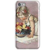 Jessie Willcox Smith - Little Girl Admiring A Bowl Of Roses. Child portrait: cute baby, kid, children, pretty angel, child, kids, lovely family, boys and girls, boy and girl, mom mum mam, childhood iPhone Case/Skin