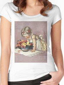Jessie Willcox Smith - Little Girl Admiring A Bowl Of Roses. Child portrait: cute baby, kid, children, pretty angel, child, kids, lovely family, boys and girls, boy and girl, mom mum mam, childhood Women's Fitted Scoop T-Shirt