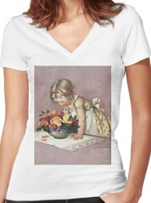 Jessie Willcox Smith - Little Girl Admiring A Bowl Of Roses. Child portrait: cute baby, kid, children, pretty angel, child, kids, lovely family, boys and girls, boy and girl, mom mum mam, childhood Women's Fitted V-Neck T-Shirt