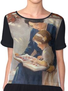 Jessie Willcox Smith - Mother Helps With The Abc Mother with kid portrait: cute girl, mother and daughter, female, pretty angel, child, beautiful dress, lovely family, mothers day, memory, mom, baby Chiffon Top