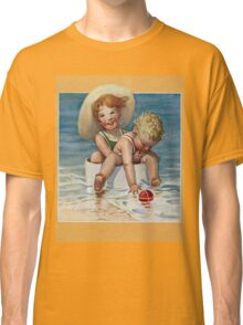 Jessie Willcox Smith - Two Children Playing In The Ocean. Child portrait: cute baby, kid, children, pretty angel, child, kids, lovely family, boys and girls, boy and girl, mom mum mammy mam, childhood Classic T-Shirt