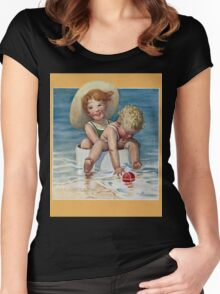 Jessie Willcox Smith - Two Children Playing In The Ocean. Child portrait: cute baby, kid, children, pretty angel, child, kids, lovely family, boys and girls, boy and girl, mom mum mammy mam, childhood Women's Fitted Scoop T-Shirt