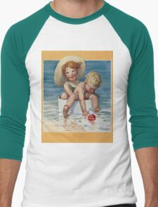Jessie Willcox Smith - Two Children Playing In The Ocean. Child portrait: cute baby, kid, children, pretty angel, child, kids, lovely family, boys and girls, boy and girl, mom mum mammy mam, childhood Men's Baseball ¾ T-Shirt