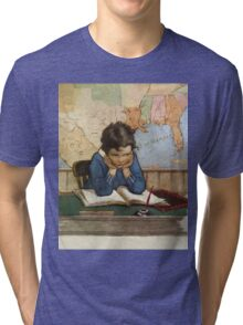 Jessie Willcox Smith - Young Boy Day Dreaming At A School Desk. Child portrait: cute baby, kid, children, pretty angel, child, kids, lovely family, boys and girls, boy and girl, mom mum mam, childhood Tri-blend T-Shirt