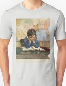 Jessie Willcox Smith - Young Boy Day Dreaming At A School Desk. Child portrait: cute baby, kid, children, pretty angel, child, kids, lovely family, boys and girls, boy and girl, mom mum mam, childhood Unisex T-Shirt