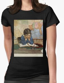 Jessie Willcox Smith - Young Boy Day Dreaming At A School Desk. Child portrait: cute baby, kid, children, pretty angel, child, kids, lovely family, boys and girls, boy and girl, mom mum mam, childhood Womens Fitted T-Shirt