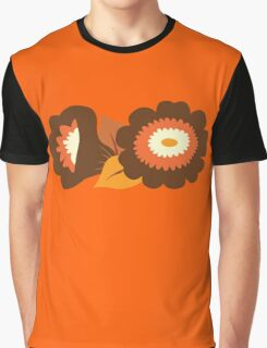 Retro Orange and Brown Flowers Graphic T-Shirt