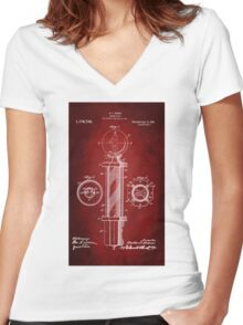 Barber Pole Patent 1916 Women's Fitted V-Neck T-Shirt