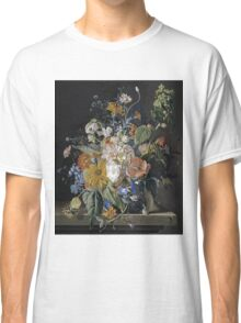 Jan Van Huysum - Poppies, Hollyhock, Morning Glory, Viola, Daisies. Still life with flowers: flowers, blossom, nature, botanical, floral flora, wonderful flower, plants, garden, vase Classic T-Shirt