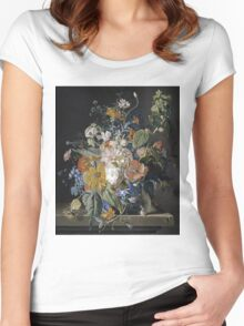 Jan Van Huysum - Poppies, Hollyhock, Morning Glory, Viola, Daisies. Still life with flowers: flowers, blossom, nature, botanical, floral flora, wonderful flower, plants, garden, vase Women's Fitted Scoop T-Shirt