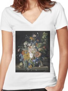 Jan Van Huysum - Poppies, Hollyhock, Morning Glory, Viola, Daisies. Still life with flowers: flowers, blossom, nature, botanical, floral flora, wonderful flower, plants, garden, vase Women's Fitted V-Neck T-Shirt