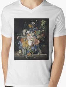 Jan Van Huysum - Poppies, Hollyhock, Morning Glory, Viola, Daisies. Still life with flowers: flowers, blossom, nature, botanical, floral flora, wonderful flower, plants, garden, vase Mens V-Neck T-Shirt