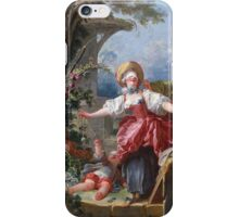 Jean-Honore Fragonard - Blind-Man's Buff. Lovers portrait: sensual woman, woman and man, kiss, kissing lovers, love relations, lovely couple, family, valentine's day, sexy, romance, female and male iPhone Case/Skin