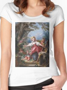Jean-Honore Fragonard - Blind-Man's Buff. Lovers portrait: sensual woman, woman and man, kiss, kissing lovers, love relations, lovely couple, family, valentine's day, sexy, romance, female and male Women's Fitted Scoop T-Shirt