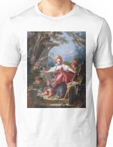 Jean-Honore Fragonard - Blind-Man's Buff. Lovers portrait: sensual woman, woman and man, kiss, kissing lovers, love relations, lovely couple, family, valentine's day, sexy, romance, female and male Unisex T-Shirt
